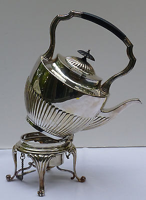 1904 Antique Silver Half Fluted Tilting Teapot Tea Pot Ebony Handles & Finial