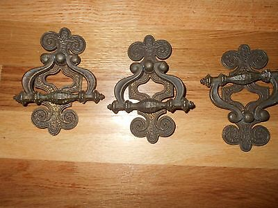 Vintage Spanish Gothic Ornate Metal Drawer Pulls Dresser Door Pulls HEAVY