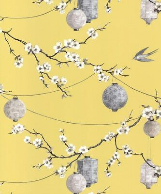 Arthouse Chinese Garden Yellow Wallpaper 695401. Oriental Floral Latterns Birds