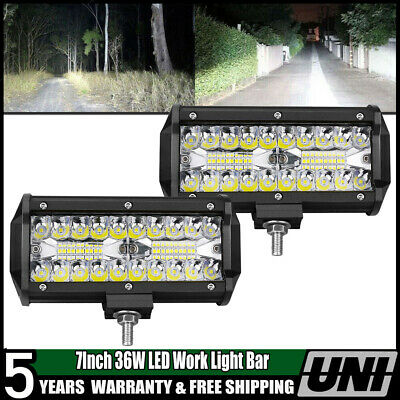 2x 7INCH 36W FLOOD DRIVING LED WORK LIGHT BAR OFFROAD ATV FOG TRUCK 4WD 12V VS