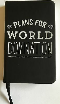 NEW Plans For World Domination Action Planner Black Pocket Notebook Lined Paper
