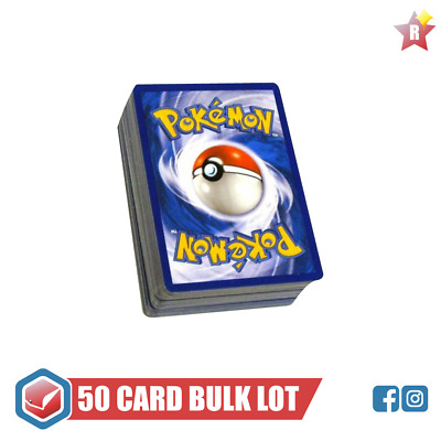 50 Pokemon Cards Bulk Lot | 1 EX or GX | 2 HOLOS, 3 RARES | Mint Genuine TCG