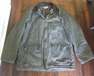 J Crew Mens Barn Field Coat Jacket Green Size Large Cotton Lined