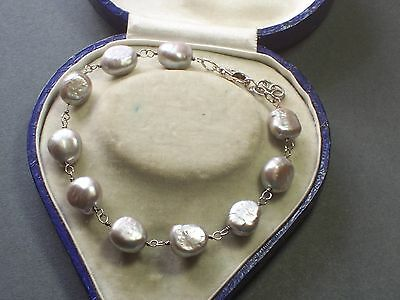 Silver & Baroque Cultured Pearl Bracelet