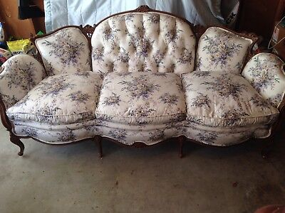 Antique 8' sofa, wood frame, tufted upholstery, cream and lavender moire