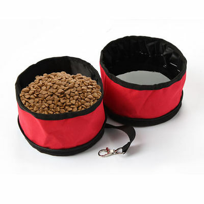 Pet Dog Cat 2 in 1 Travel Pet Bowl Food Water Feeding Bowl Foldable Collapsible