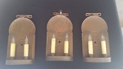 3 Sets Antique Vintage Copper Wall Electric Candle Sconce Fixture Curved Out
