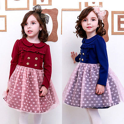 New Lace Dot Baby Girls Bow Doll Collar Kids Princess Party School Dress 2-7yrs