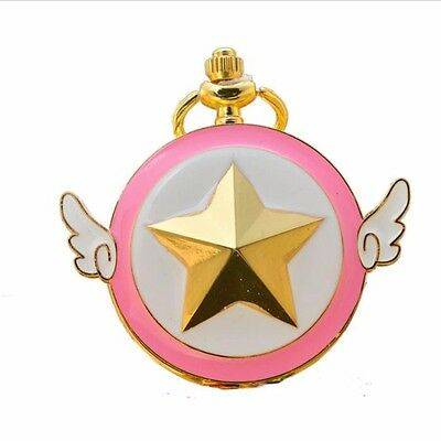 Cardcaptor Sakura Scepter CP Star Wings Pocket Watch Pendant Necklace Chain Gift