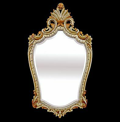 Antique Louis XV Hand Carved Gilt Wood Large French Mirror c1940 /Gold/Old White
