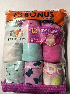 Girls Panties Lot of 12 NIP Briefs or Hipster Cotton Size 12 Fruit of the Loom
