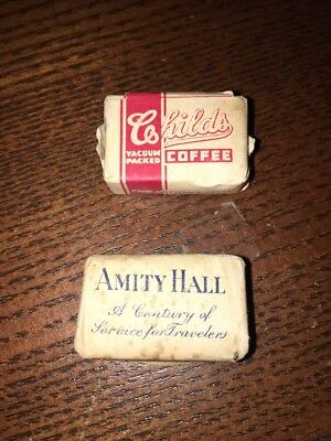 Rare 1930 Era Free Sugar Packs - Child's Coffee Amity Inn Hall Dauphin Gas Look