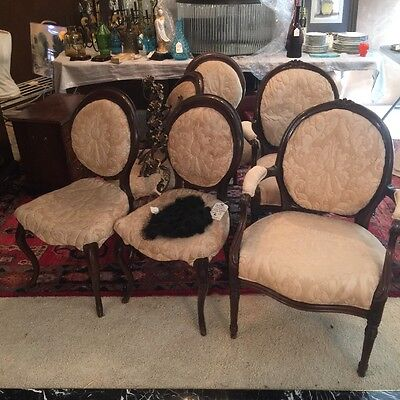 Set of Six (6) French   Provincial Dining Chairs