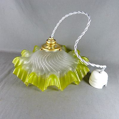 Vintage French Green Glass Ceiling Shade, w/Hardware, Ø 27 cm