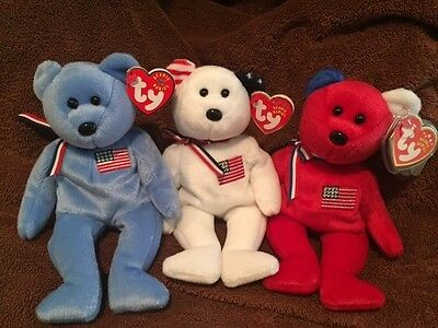 TY Beanie Babies America-Red, White & Blue Set of 3 MINT/MINT TAGS