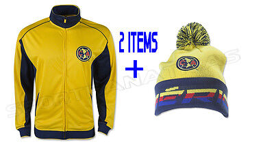 453a6a383b0 Club America Jacket Track Soccer + Beanie Pom Winter Cap Hat set 2 items