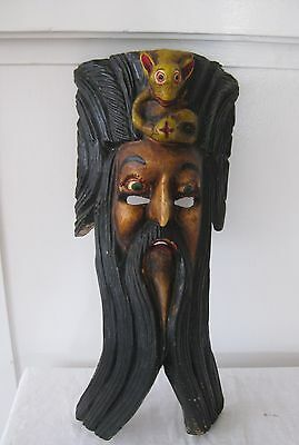Vintage Mexican folk art carved wood mask bearded man