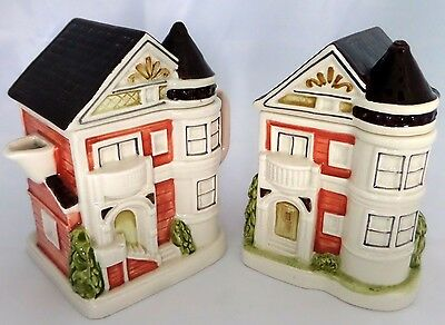 Otagiri Victorian Houses Creamer and Sugar Bowl with Lids 1993 Handcrafted Japan