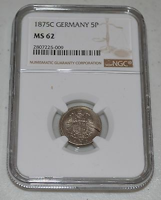 1875-C Germany 5 Pfennig Graded by NGC as MS 62