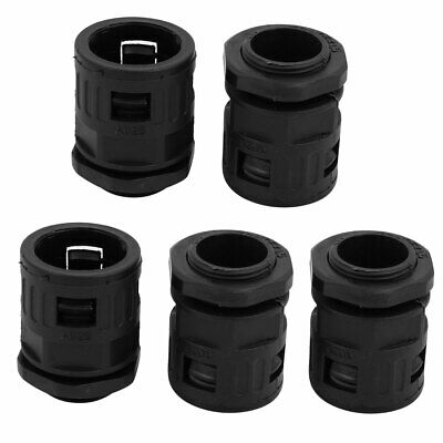 5 Pcs 25mm ID M25x1.5mm Thread Plastic Cable Gland Pipe Connector Joints Black