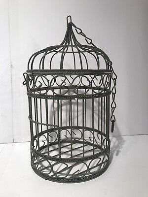 "Metal Decorative Miniature Bird Cage 11"" Tall"
