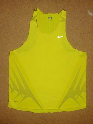 New Nike Fitdry Xl Mens Running Vest Top Singlet Dayglo Yellow Shop Quality