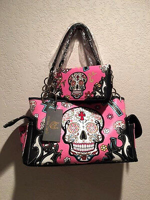 Skull Handbag & Wallet Set Pink Purse Sugar Skull Nwt Cowgirl Trendy