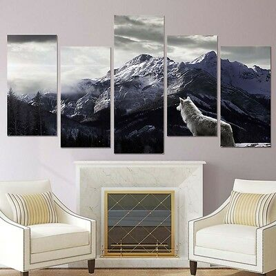 Framed Snow Mountain Plateau Wolf Animals Canvas Prints Painting Wall Art 5PCS