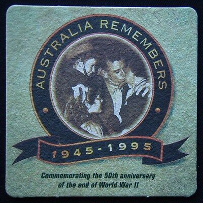 Australia Remembers 1945-1995 50th Anniversary End Of WWII Coaster (B303)