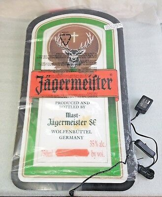 Jagermeister Light Up Wall Mountable Neon Bar Sign Bottle Label Flat Screen