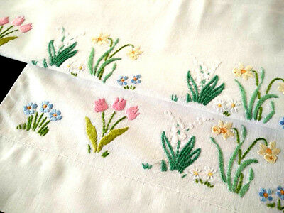 2 x Charming Vintage Pillow-cases ~ Hand embroidered Cottage Flowers
