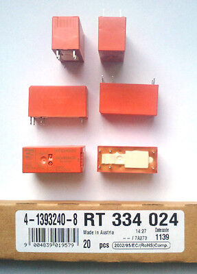 20 Piece Relay TE Connectivity Schrack 4-1393240-8 - RT334024 24VDC 16A