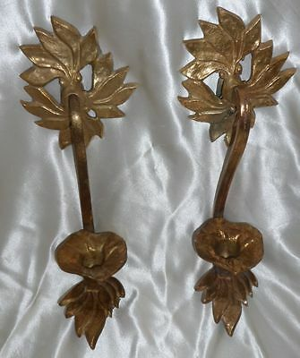 Set Of 2 Very Old Vintage Heavy Brass Wall Candle Sconces Holders Victorian Era