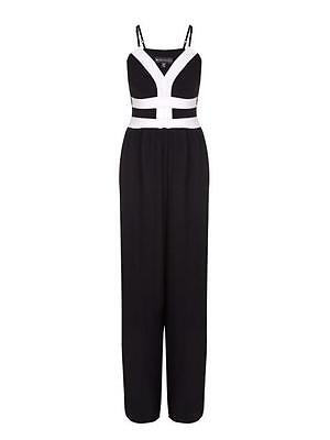 Mela London Two Tone Strappy Jumpsuit 12 Black/ Multi