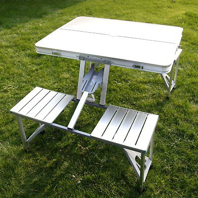 Aluminum Folding Camping Picnic Table With 4 Seats Portable Set Outdoor Garden E
