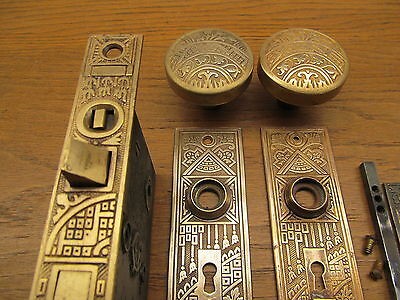 Old Eastlake ??? Ceylon Brass ?? Bronze ? Lockset Nice Ornate Double Key