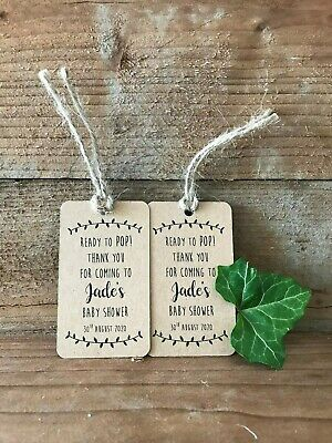 20 Personalised Ready To Pop Baby Shower Thank You tags with twine, Kraft Card