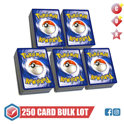 250 Pokemon Cards Bulk Lot | Rare/Uncommon/Common/R Holo | GENUINE MINT TCG