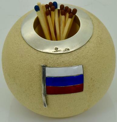 MUSEUM Imperial Russian Faberge enamelled silver mounted pottery match holder