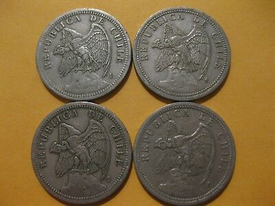 "1933 Chile coin 1 PESO  ""CONDOR""  nice fine Beauties  bird coin GROUP OF 4 COINS"
