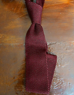 Wine Red Knit Tie - Pure Silk - 6.5 cm/ 2½ Inches - Slim - Flat End