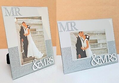 Mr Mrs Double 3D Picture Diamante Glitter Photo Frame Gift Wedding Anniversary