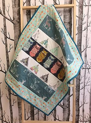 Baby Tummy Time Handmade Quilt Small Quilt Blue Owl Teepee Native India Woodland