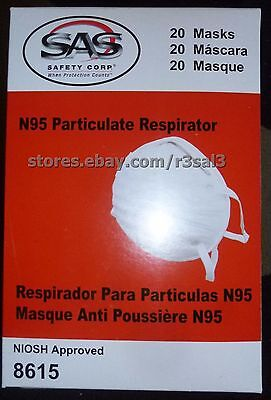 SAS Safety 8615 N95 Economy Particulate Respirator Face Mask, Box of 20