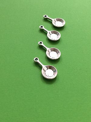 Antique Silver Frypan/ Cooking Charms/pendants/ DIY Jewelry Making/craft