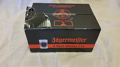 Set of 6 Jagermeister 1 oz Frosted Shot Glasses NIP