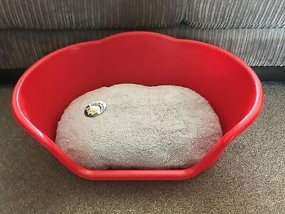 Xl Red Plastic Pet Bed Cat Dog Basket, Luxury Grey Fleece Washable Cushion