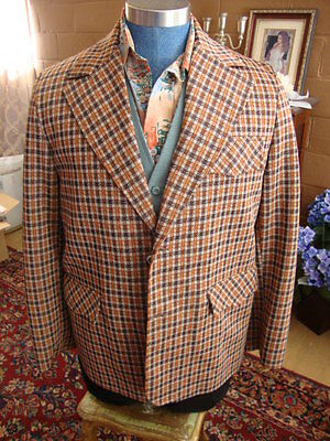 70's Vintage Suit Jacket  in Rust Brown Check  Disco Size 40R