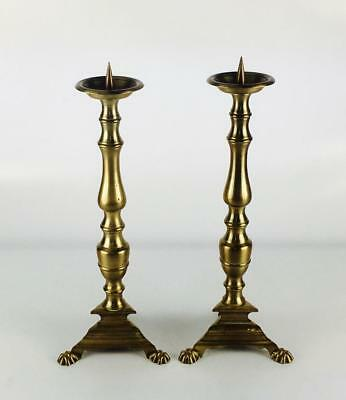 A Pair of Large Antique French Brass Copper Candle Holders 16.53""
