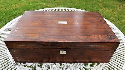 Large Rosewood Writing Slope with Mother of Pearl and Pewter Inlay
